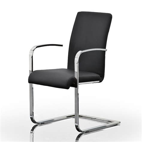 lotte black faux leather dining chairs with chrome legs