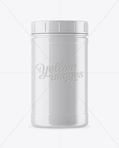 The mockup was prepared so as to allow for adding any color to the cap. Glossy Plastic Protein Jar Mockup in Jar Mockups on Yellow ...