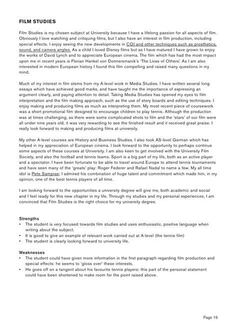 steps  write write film personal statement