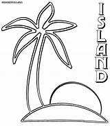 Island Coloring Palm sketch template