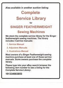 Illustrated Parts Manual To Service Singer Featherweight