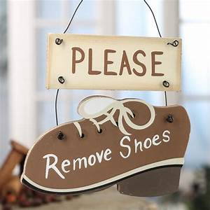 """""""Please Remove Shoes"""" Wood Sign - Home Decor"""