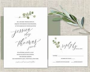 greenery wedding invitation template eucalyptus watercolor With greenery wedding invitations free