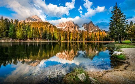 dolomites  italy rocky mountains  snow pine forest