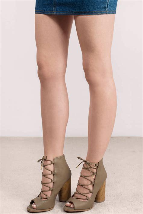 taupe color heels trendy taupe heels beige heels lace up heels taupe