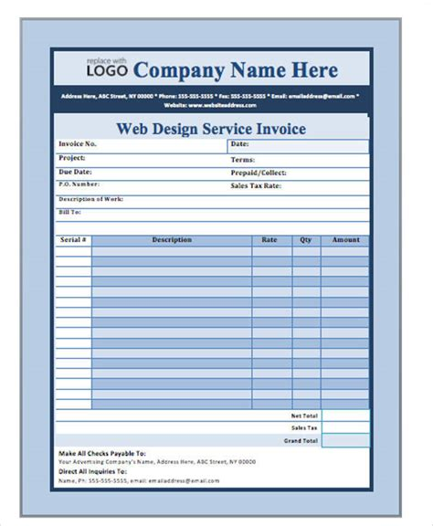 sample web design invoice  examples   word