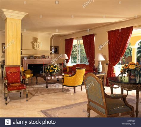 Red Curtains And Colourful Chairs And Sofa In Spanish. Living Room Loveseat. Acrylic Side Tables Living Room. Wall Decorations For Living Rooms. Living Room Drapes And Curtains Ideas. Living Spaces Dining Room. Traditional Living Room Set. Grey Furniture Living Room. Traditional Living Room Designs