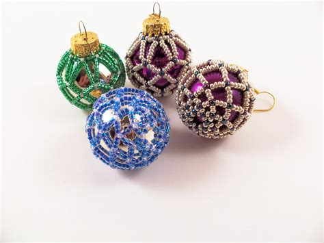beaded christmas ornament pattern 3 net beading tutorial