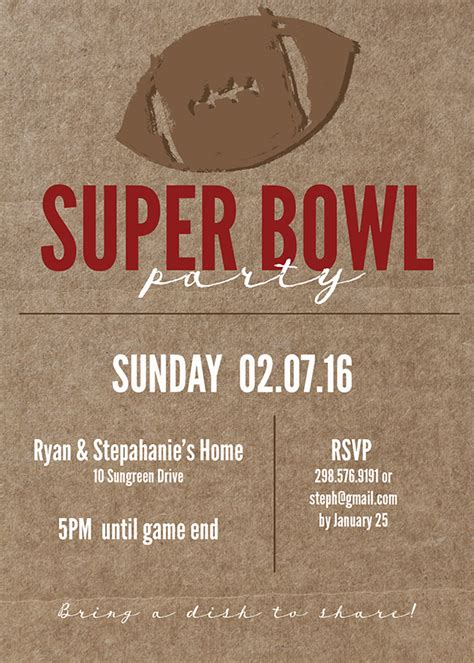 super bowl printable  invitation  printable