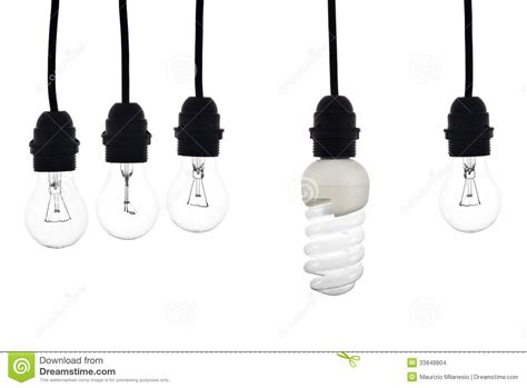 a light bulb with low consumption light bulbs hanging