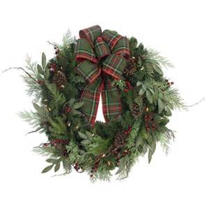 home accents holiday 32 in pre lit woodland tales artificial christmas wreath with plaid ribbon