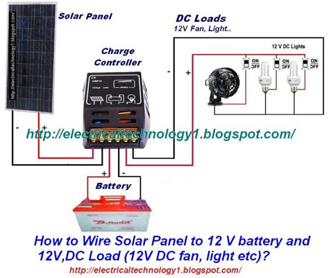 how to wire solar panel to 12v battery 12v dc load 12v