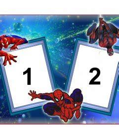 marco de dos fotos  spiderman  su telarana fotoefectos
