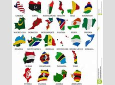 Africa Countries Flag Maps Part2 Stock Illustration