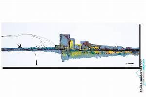 Grand Tableau Blanc : tableau blanc ville pure grand panoramique art abstrait ~ Teatrodelosmanantiales.com Idées de Décoration