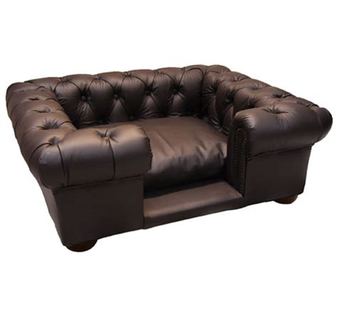 balmoral brown faux  real leather dog sofa bed
