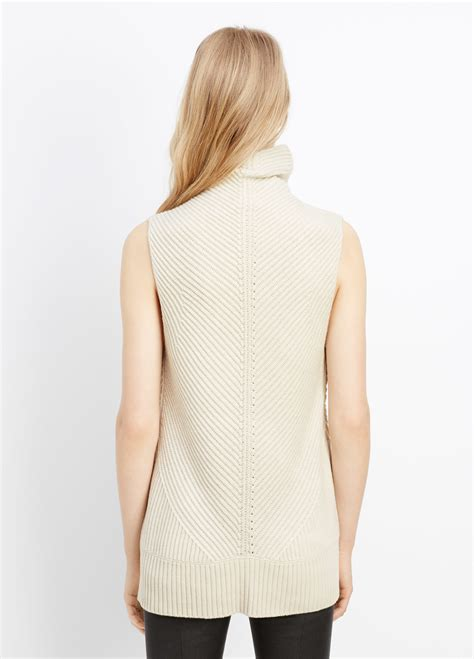 sleeveless turtleneck sweater vince directional rib sleeveless turtleneck sweater in