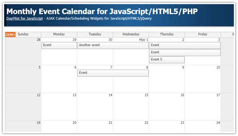 monthly event calendar javascripthtmlphp daypilot