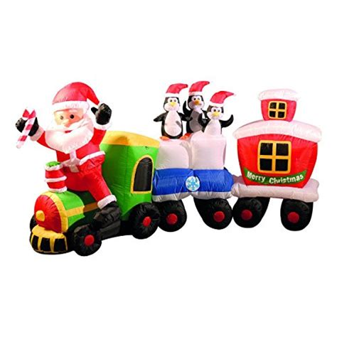 inflatable christmas train with santa and friends inflatable