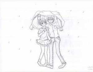 Sad Anime Girl Crying In The Rain Drawing - Drawing Of Sketch