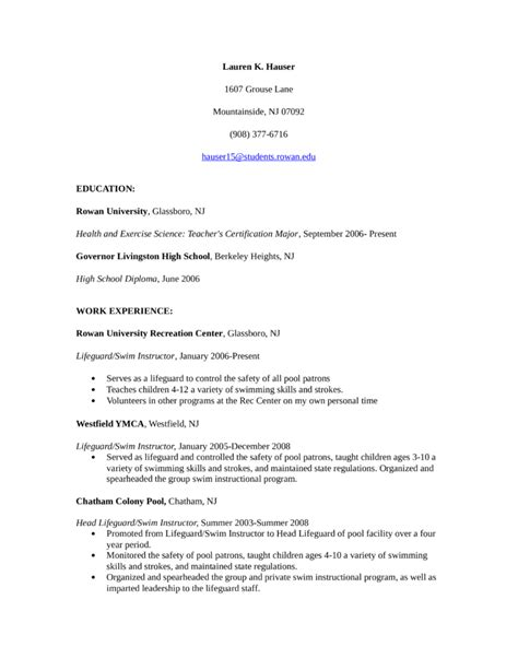 Lifeguard Skills For Resume by Simple Lifeguard Resume Template
