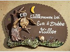 """Keramik Türschild """"Eule und Igel"""", wetterfestes Namensschild"""
