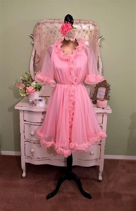 chiffon candy nightgown set  pink sheer