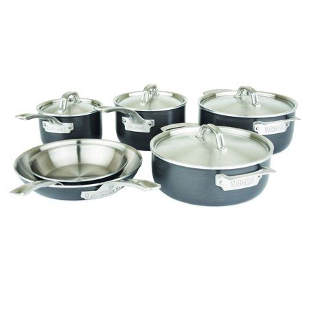 viking culinary hard stainless  ply  piece cookware set  hard anodized exterior