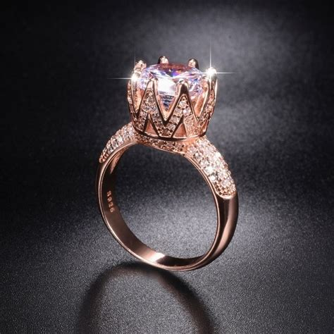 solid 100 925 sterling silver rose gold wedding rings