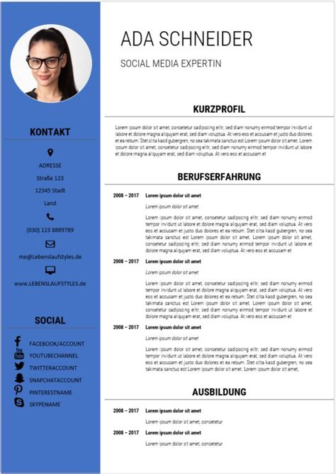 Bewerbung Und Lebenslauf Muster by Lebenslauf Muster 31 Bewerbungswissen Net