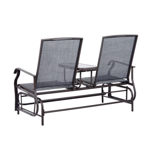 outsunny 2 person outdoor mesh fabric patio glider