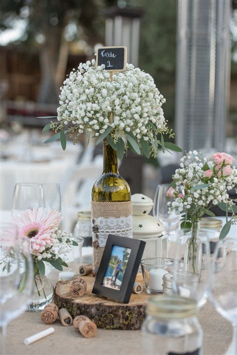 Wine Bottle Centerpieces with Baby's Breath Wedding wine