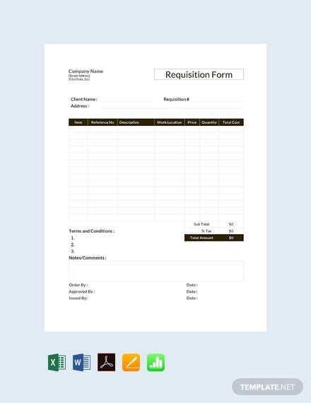 requisition form template  word excel