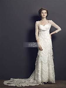 vintage sheath column sweetheart long sleeves chapel train With vintage lace wedding dresses with sleeves