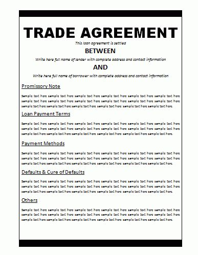 trade agreement template  word templates