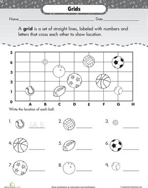 coordinate grid basic practice with sports worksheets