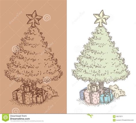dibujo dibujado mano del 225 rbol de navidad del vintage