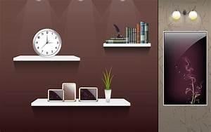 画像 : 【模様替え感覚でアイコンを整理!】空の部屋のデスクトップ壁紙【棚・机・黒板】
