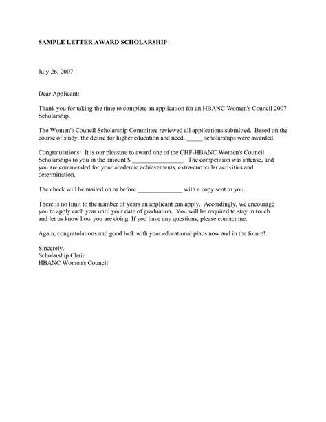 scholarship congratulations letter  letter