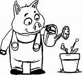 Pigs Stick Coloring Pig Drawing Elevator Pages Three Getcolorings Tree Printable Getdrawings sketch template