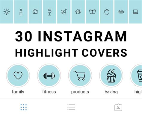 instagram highlight icons blue  black mimosa designs
