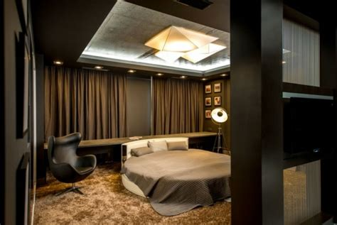 chambre a coucher avec lit rond l 39 appartement moderne d 39 un footballeur en