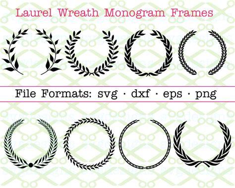 laurel wreath monogram frames cricut silhouette svg dxf eps png monogramsvgcom  svg designs