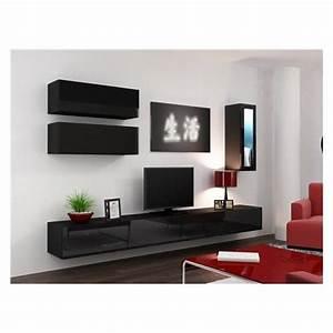 Meuble Tv C Discount : meuble suspendu noir ~ Teatrodelosmanantiales.com Idées de Décoration