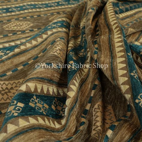Teal And Brown Upholstery Fabric by Quality Kilim Aztec Pattern With Stripes In Brown Teal