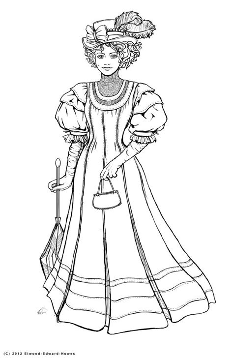 victorian woman coloring pages   print