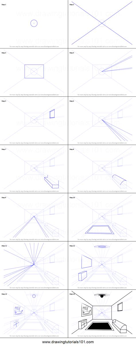 draw  room   point perspective printable