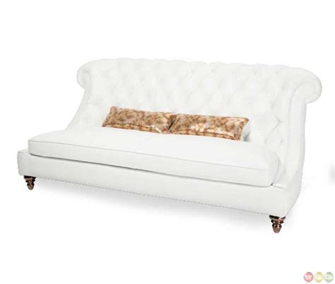 Michael Amini Mia Bella Tufted White Gold Modern Sofa By Aico