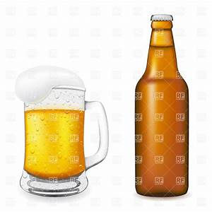 Brown beer bottle and beer glass with handle and foam ...