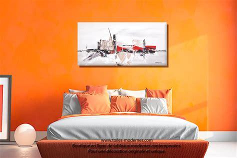 tableau chambre à coucher tableau taupe gris moderne à reliefs grand format